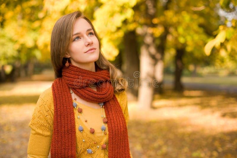 秋天方式女孩斟酌 图库摄影