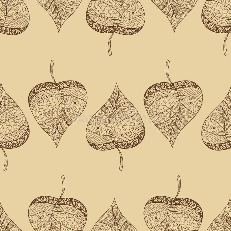秋天无缝叶子的模式 库存图片