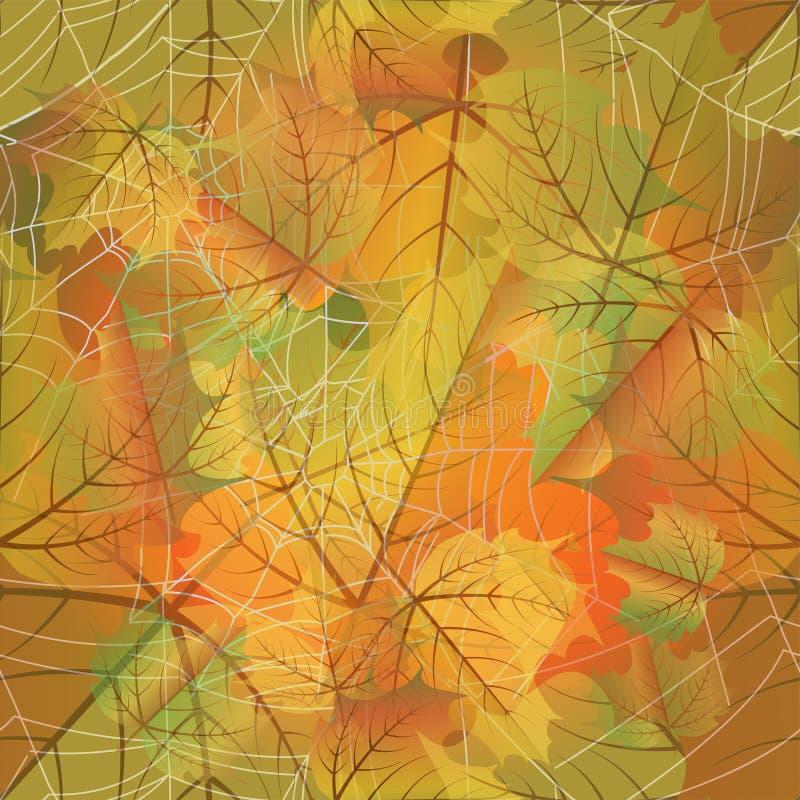 秋天无缝的卡片,与蜘蛛网,传染媒介 皇族释放例证
