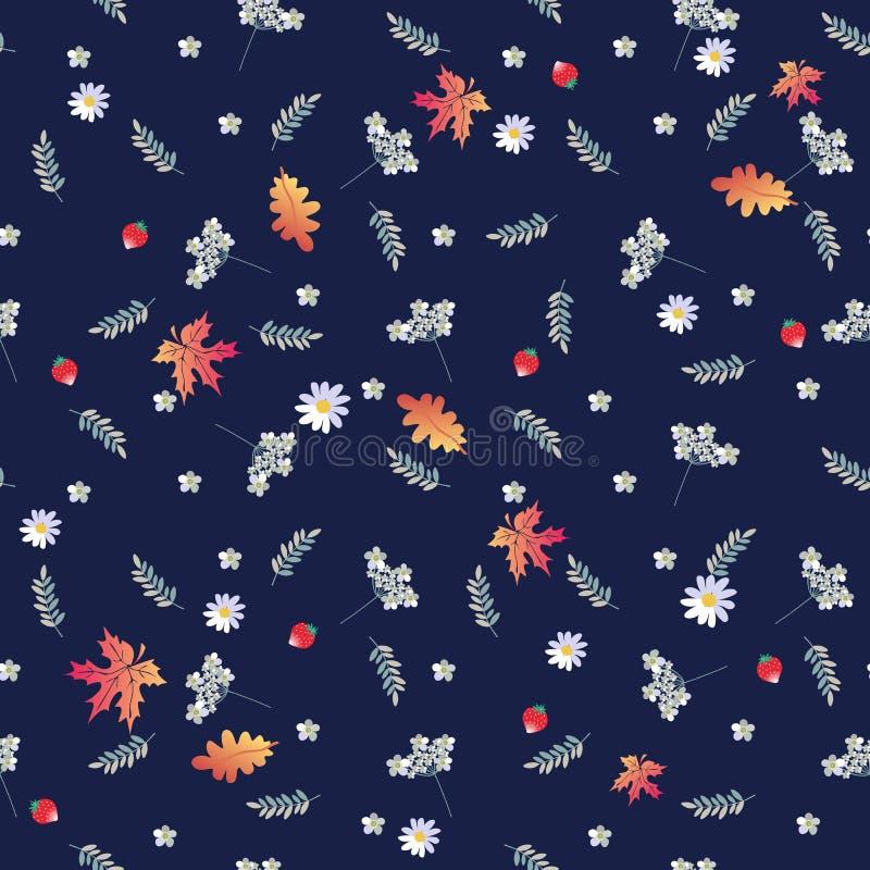 秋天无缝的样式用欧蓍草开花,雏菊,槭树,并且橡木离开,草莓 库存例证