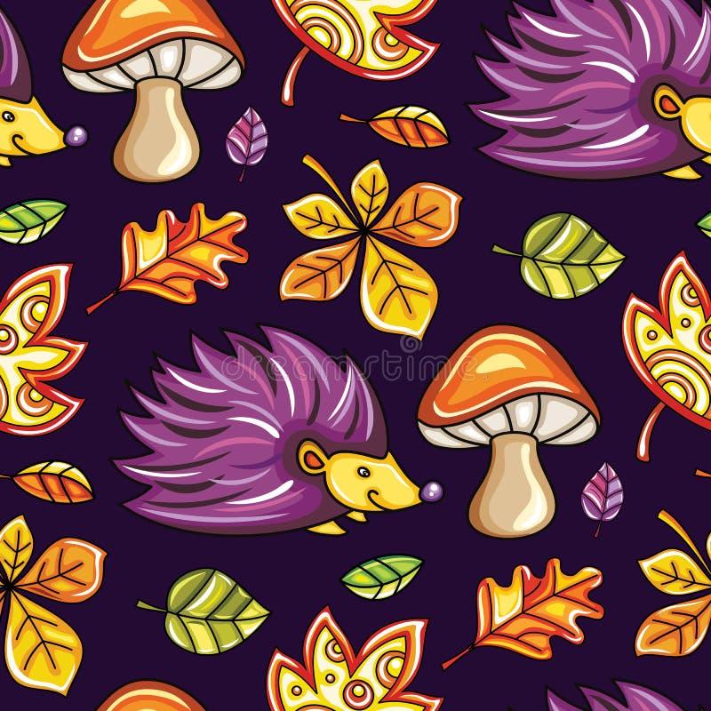 秋天无缝的样式系列 皇族释放例证