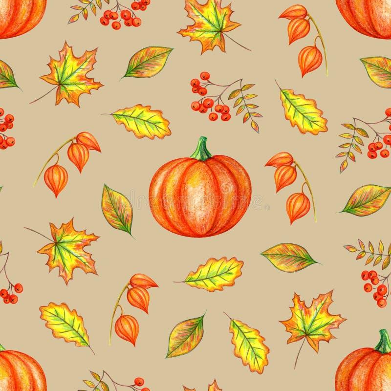 秋天无缝的样式 向量例证