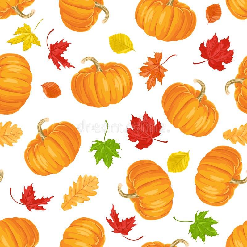 秋天无缝的样式 橙色南瓜和五颜六色的落的叶子 皇族释放例证