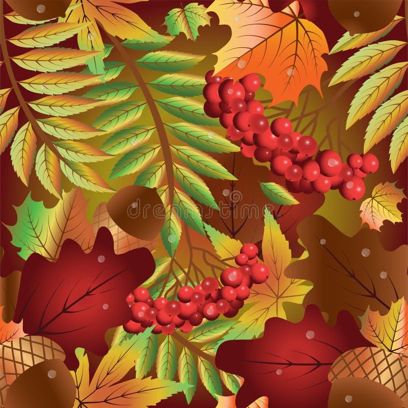 秋天无缝的背景用花楸浆果 库存例证