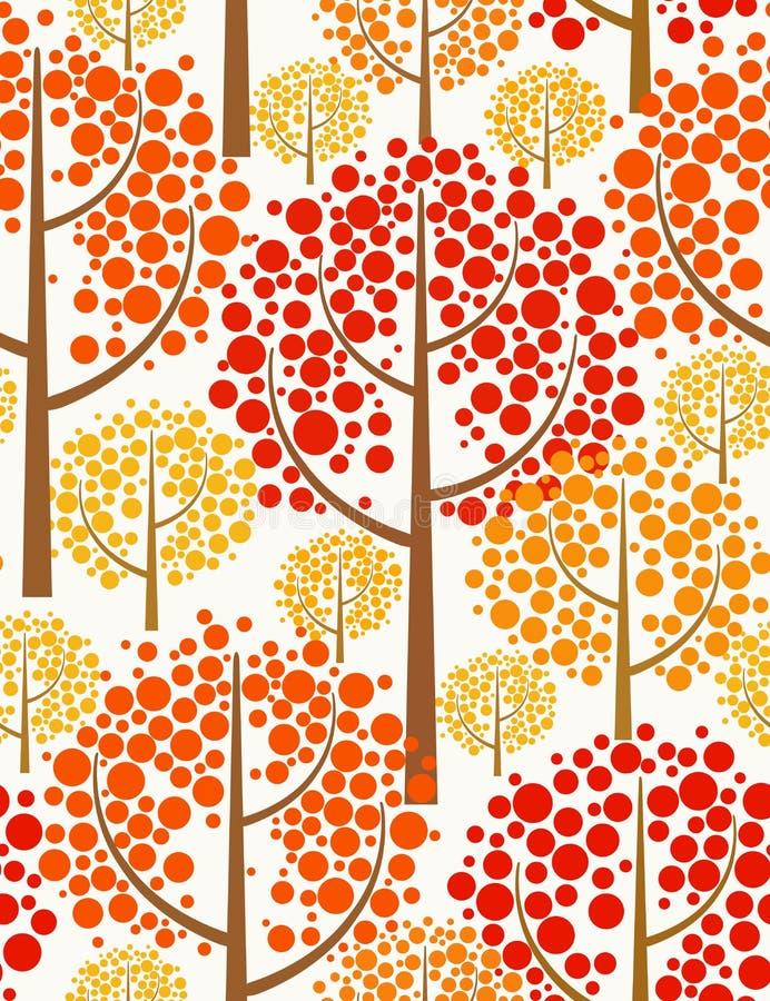 秋天无缝背景的森林 库存例证