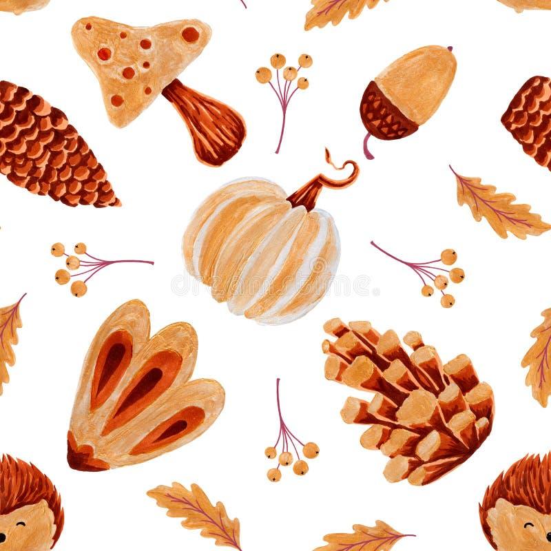 秋天无缝patern用南瓜,秋天叶子,橡子 免版税库存照片