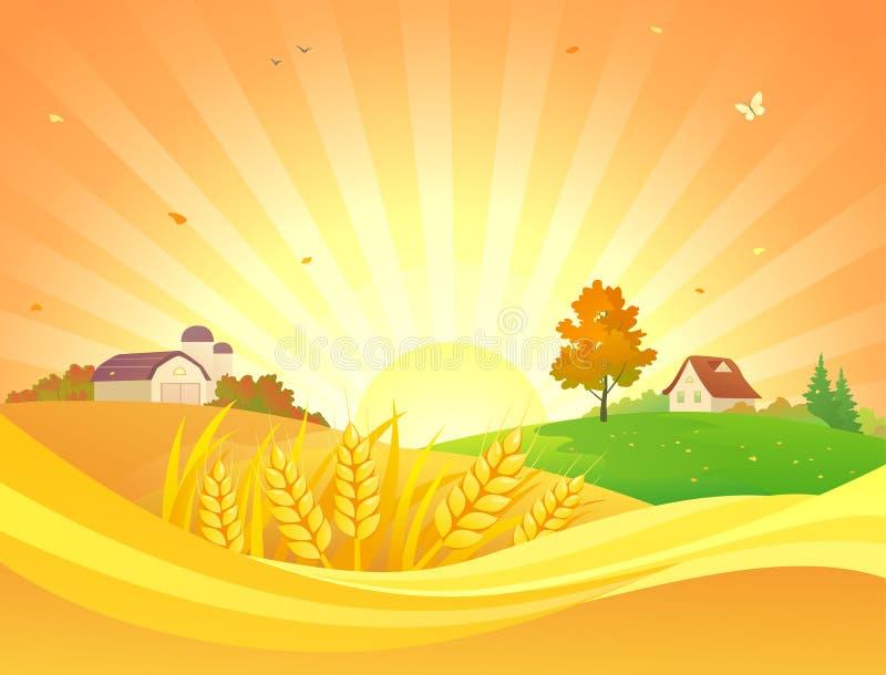 秋天日落风景设计 向量例证