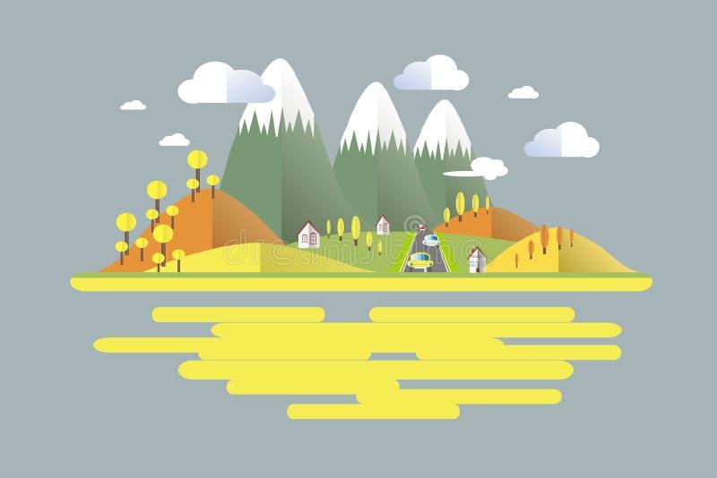 秋天时间,绿色,灰色,黄色,橙色山风景,在路的汽车 现代平的设计 皇族释放例证