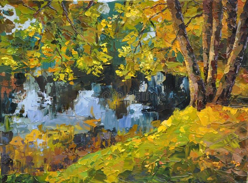 秋天晴朗日的湖 向量例证