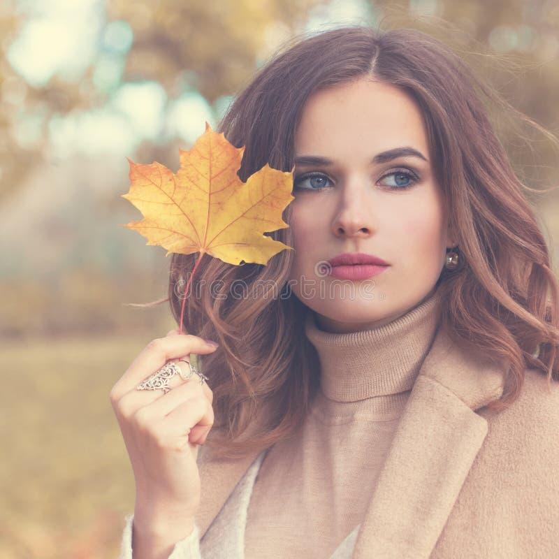 秋天有波浪发的时装模特儿妇女 库存图片