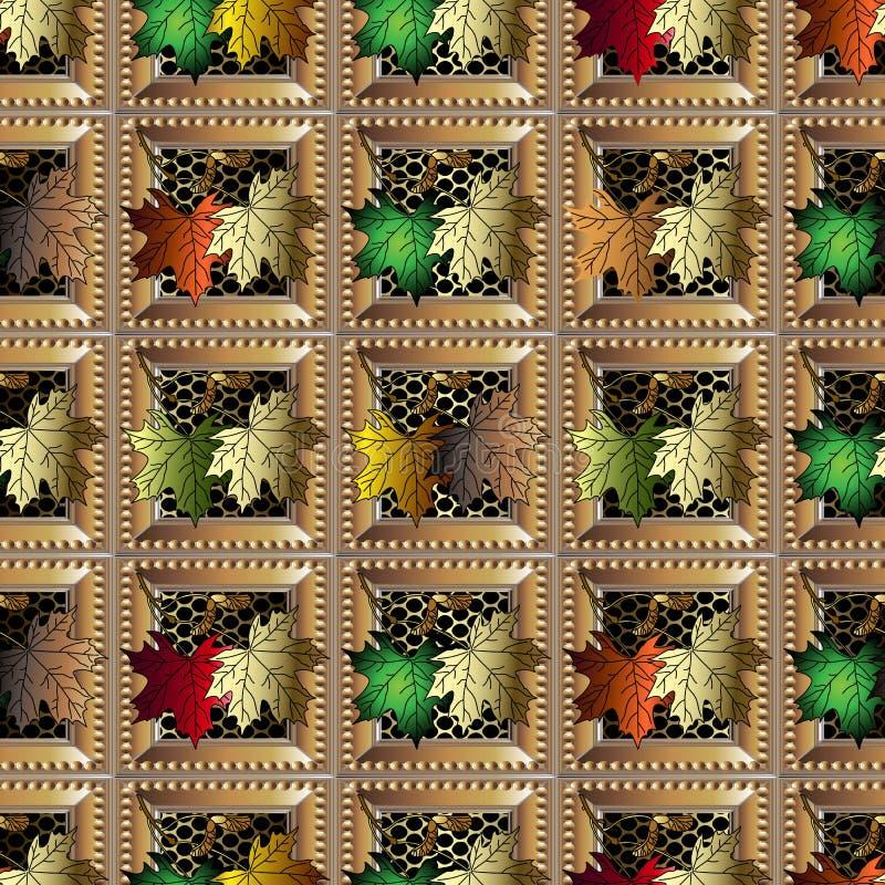 秋天枫叶五颜六色的方格的3d传染媒介无缝的样式 几何装饰花卉背景 重复鞋带栅格 向量例证