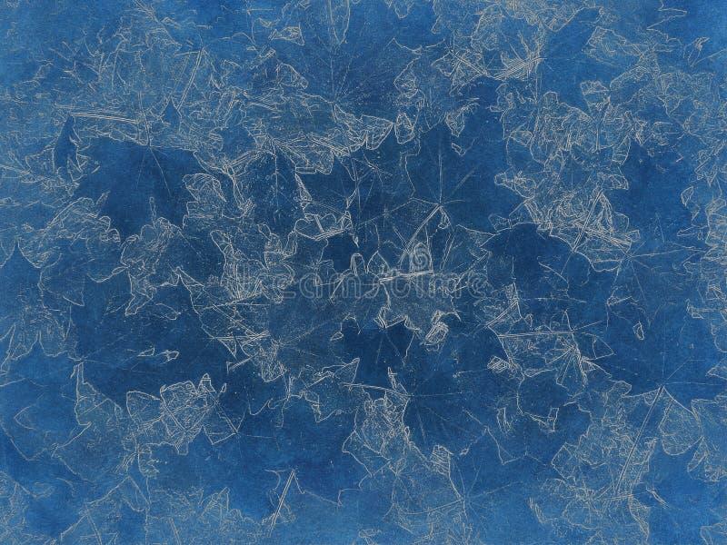 秋天枫叶轻的印刷品在蓝色年迈的纸的 免版税库存图片