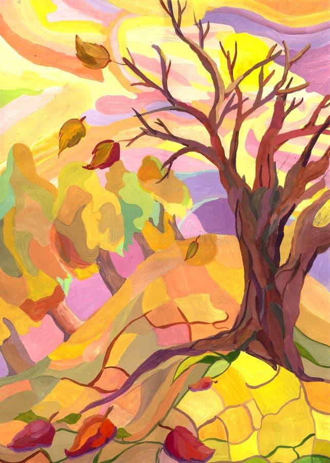 秋天树叶子落,风 r 皇族释放例证
