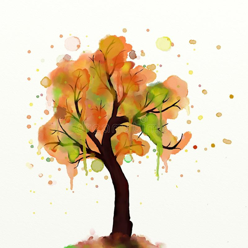 秋天树绘画 库存例证