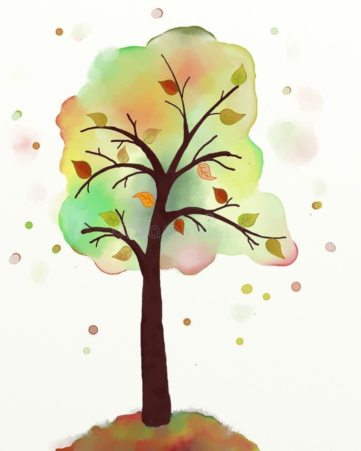 秋天树绘画 皇族释放例证