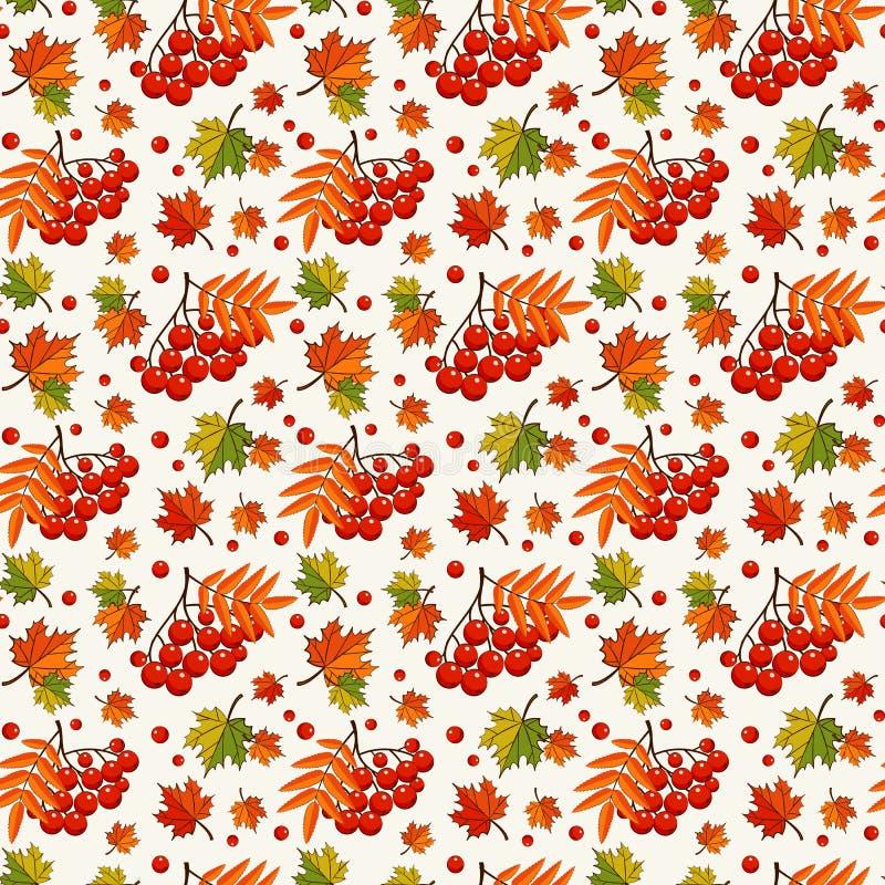 秋天样式用花楸浆果 背景无缝的向量 库存例证