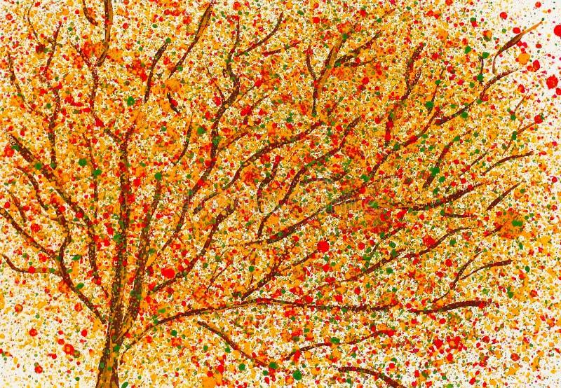 秋天桥梁横向公园小的水彩 秋天可用的例证结构树向量 皇族释放例证