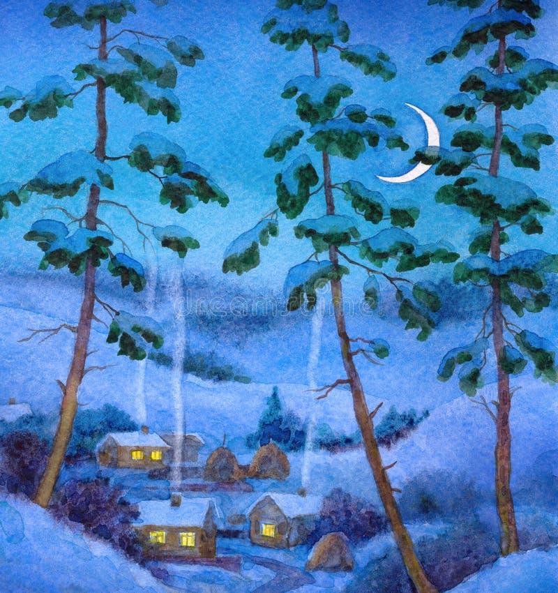 秋天桥梁横向公园小的水彩 在村庄的冬天夜 库存照片