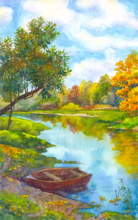 秋天桥梁横向公园小的水彩 在河的岸的附近小船 向量例证