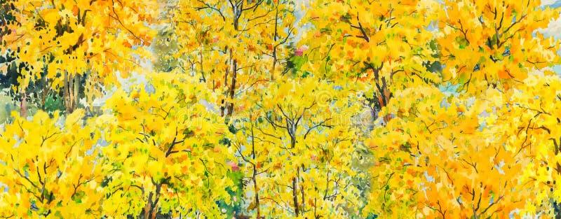 秋天桦树叶子草甸橙树 绘画水彩风景 库存例证