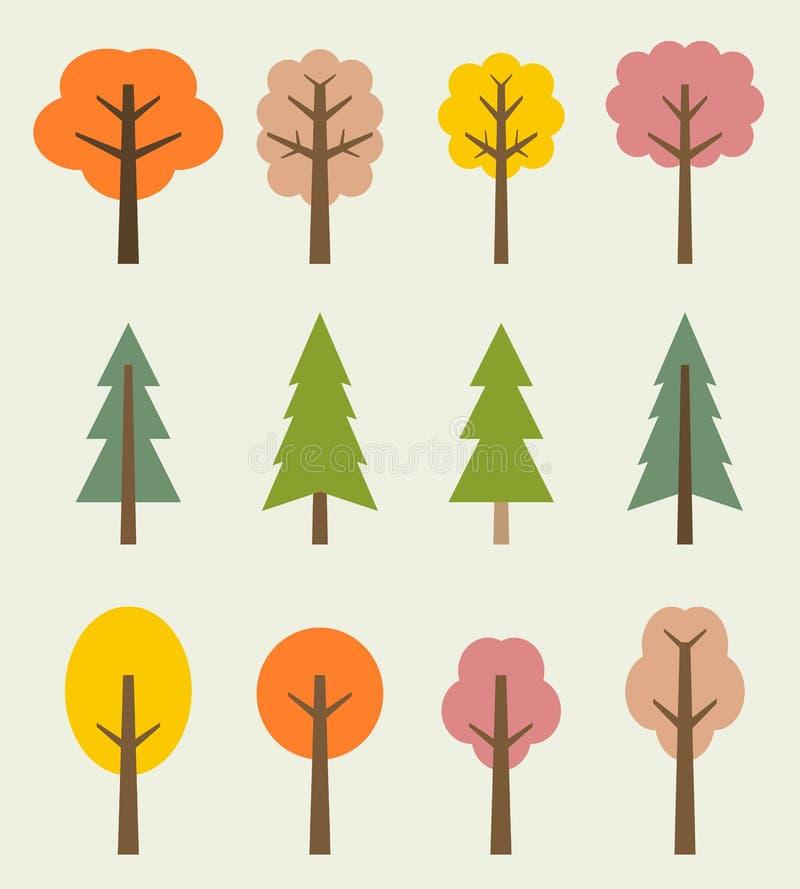 秋天桦树叶子草甸橙树 库存例证