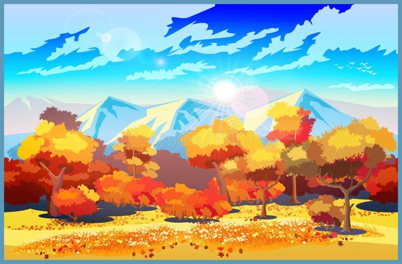 秋天森林在阳光下 皇族释放例证