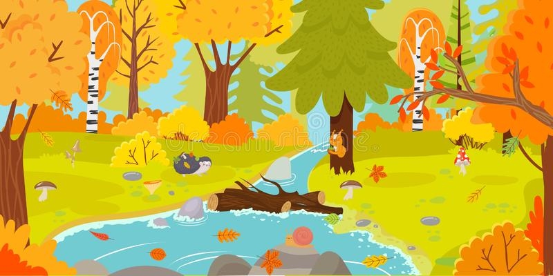 秋天森林秋季自然风景、黄色林木和森林地秋天留下动画片传染媒介例证 皇族释放例证