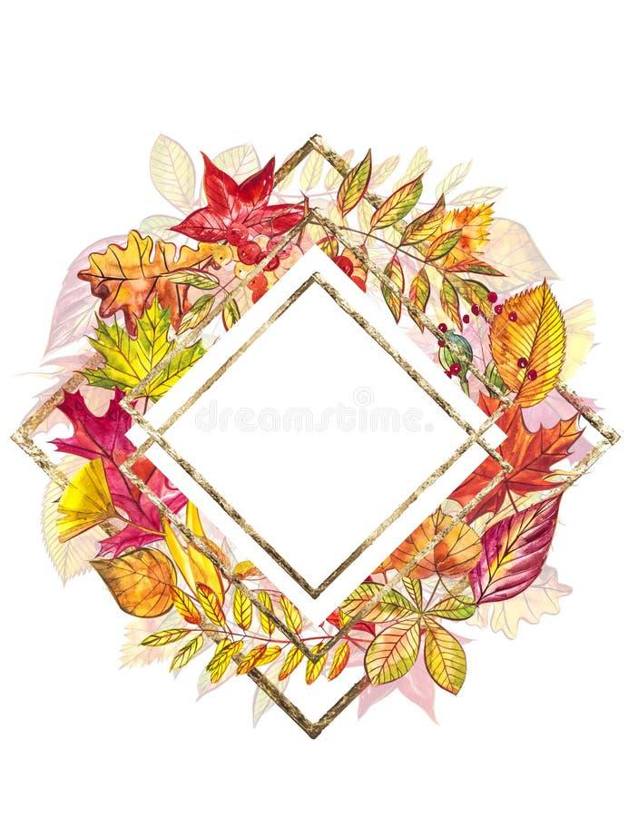 秋天模板背景 季节性例证 网横幅模板 额嘴装饰飞行例证图象其纸部分燕子水彩 向量例证