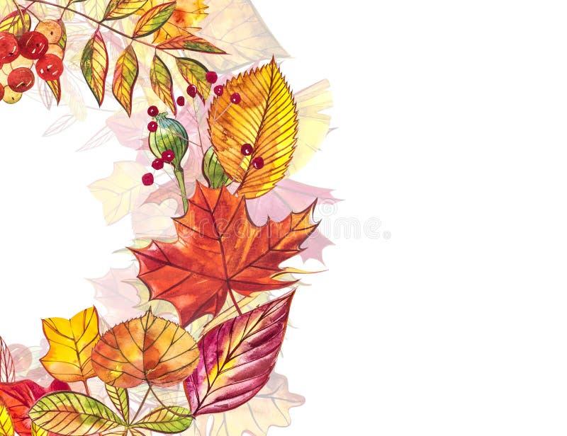 秋天模板背景 季节性例证 网横幅模板 额嘴装饰飞行例证图象其纸部分燕子水彩 库存例证