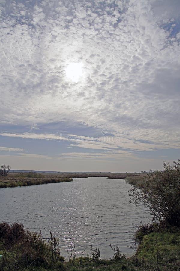 秋天横向 洪泛区和河Berezina 晴天在10月 图库摄影