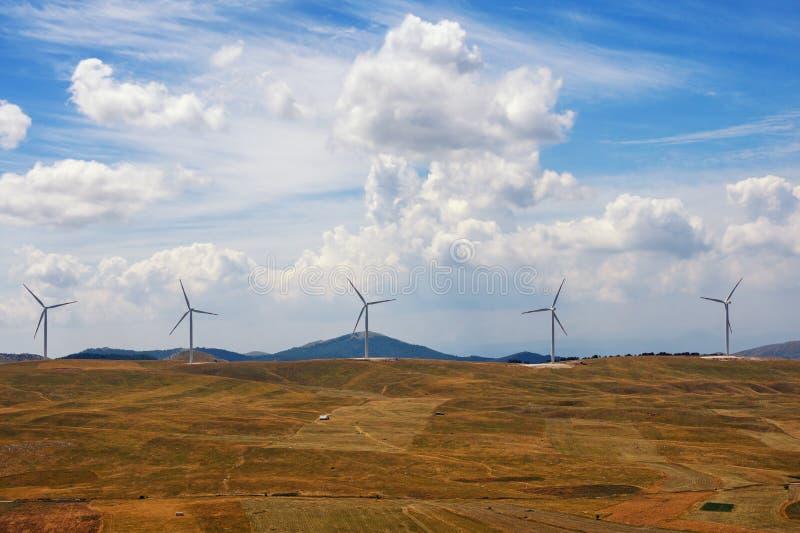 秋天横向 金黄领域、风车蓝天和线  黑山, Krnovo风公园 库存照片