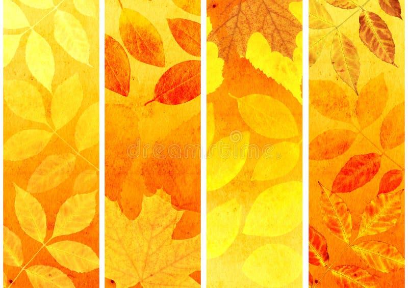 秋天横幅的收集 库存例证