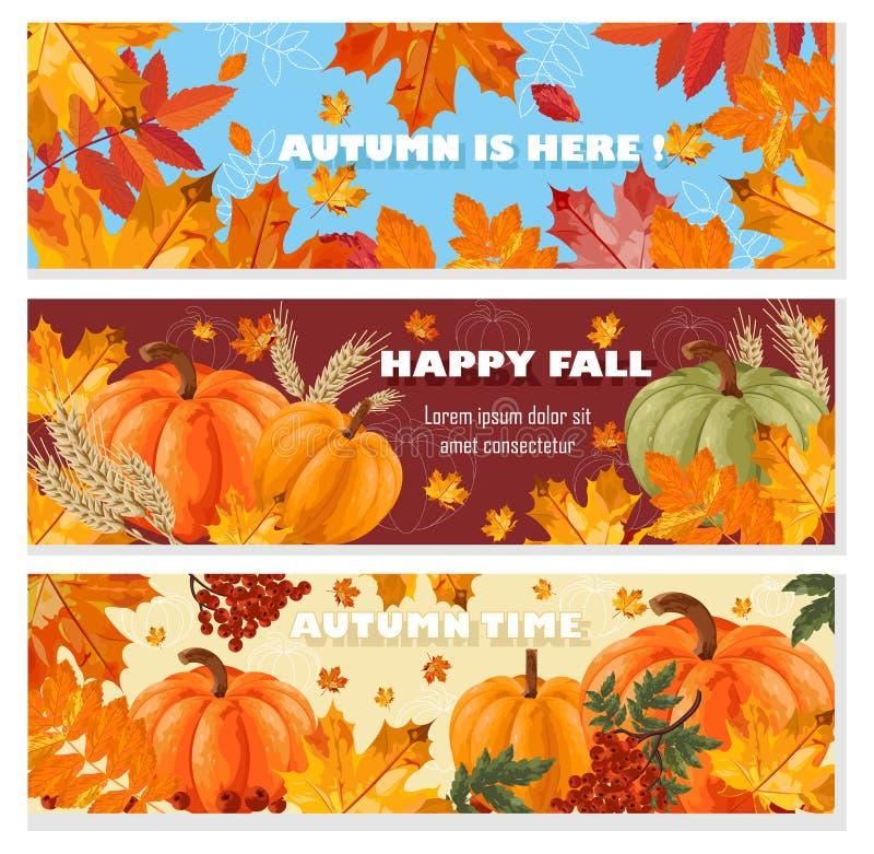 秋天横幅被设置的传染媒介 秋天叶子和南瓜卡片例证 库存例证