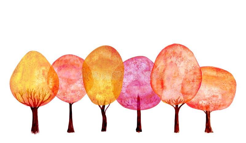 秋天橙红金重叠的树设置背景 水彩动画片五颜六色的新树收藏 向量例证