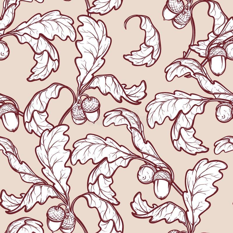 秋天橡木叶子和橡子无缝的样式 皇族释放例证