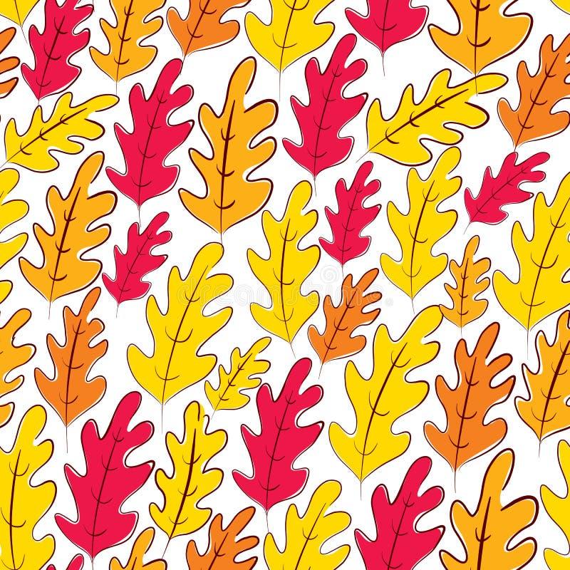 秋天橡木离开无缝的样式,传染媒介背景 向量例证