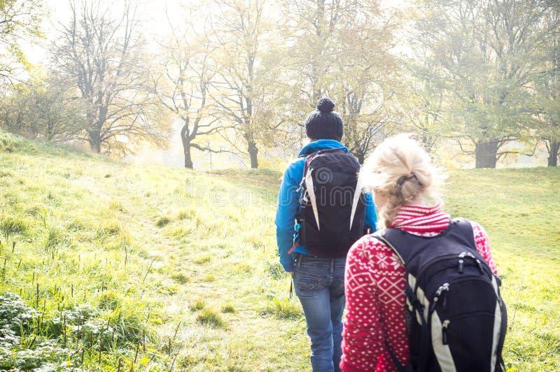 秋天步行的两个女孩 图库摄影