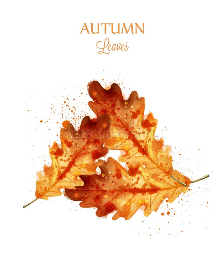 秋天水彩在白色背景留给传染媒介被隔绝 秋天横幅模板 红色金黄颜色 向量例证