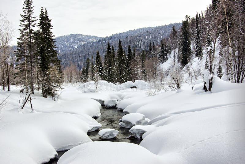 秋天流旋涡冬天 库存照片