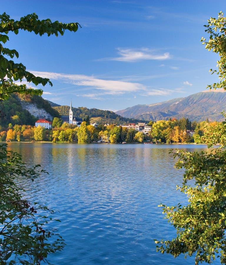 秋天流血湖斯洛文尼亚 库存图片