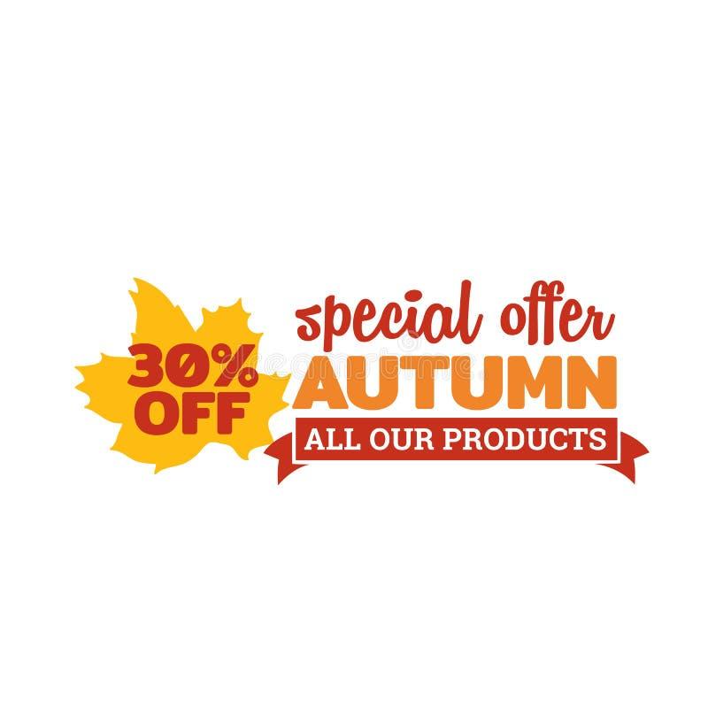 秋天特价优待徽章 与秋天秋天干燥叶子传染媒介例证的印刷术 向量例证