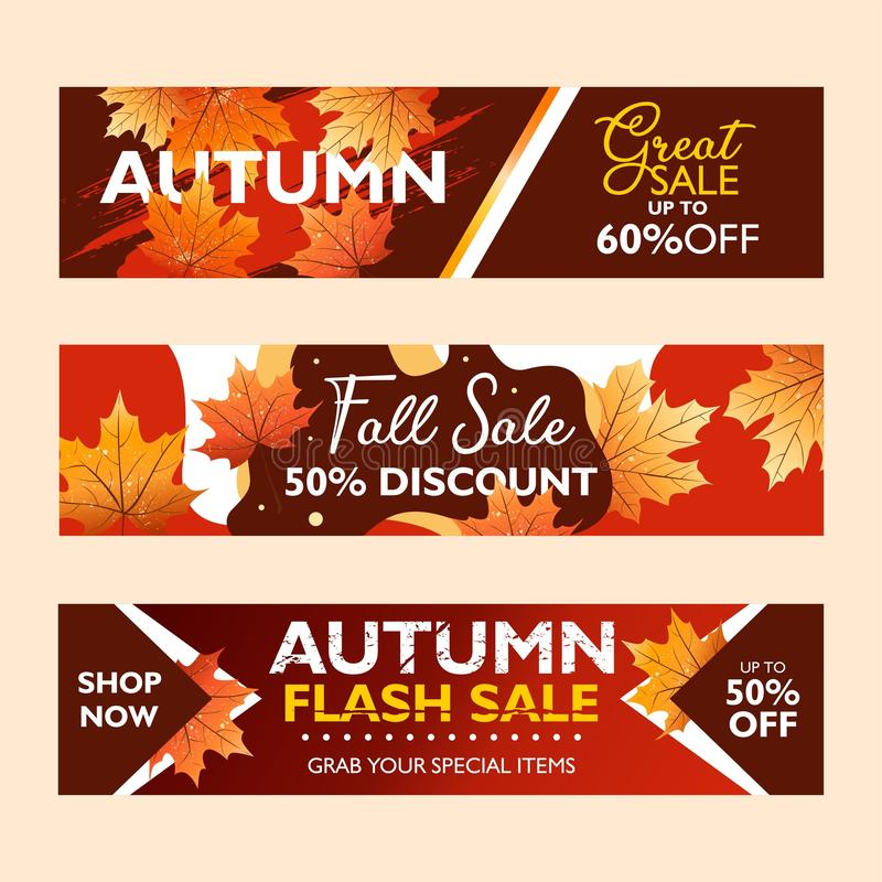 秋天特价促进,出版物的横幅汇集 一刹那销售、秋天销售和巨大销售 使用在co的落的叶子 向量例证