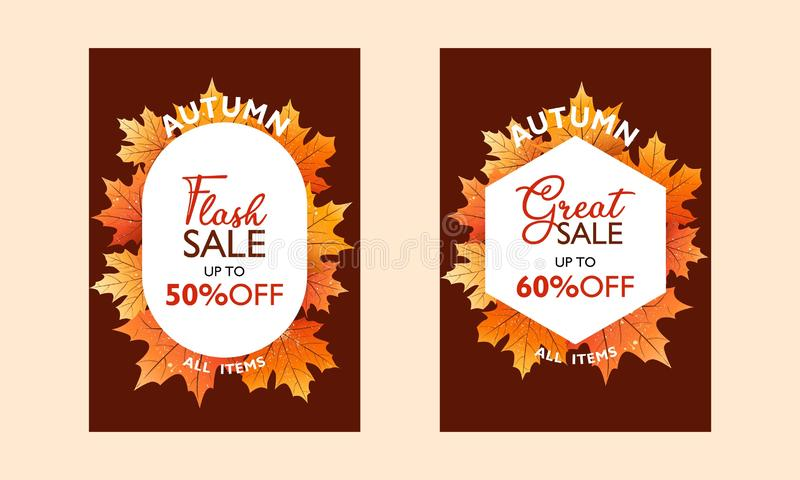 秋天特价促进,出版物的海报汇集 一刹那销售和巨大销售 使用在背景的落的叶子 向量例证