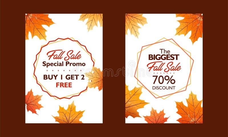 秋天特价促进,出版物的海报汇集 一刹那销售和巨大销售 落在白色backgro离开 库存例证