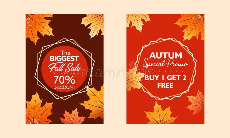 秋天特价促进,出版物的海报汇集 秋天销售和特别电视节目预告 落在红色backgro离开 向量例证