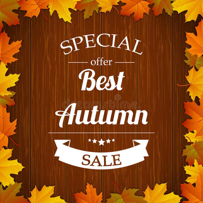 秋天特殊的拍卖与色的叶子和木背景的印刷术海报 向量 向量例证