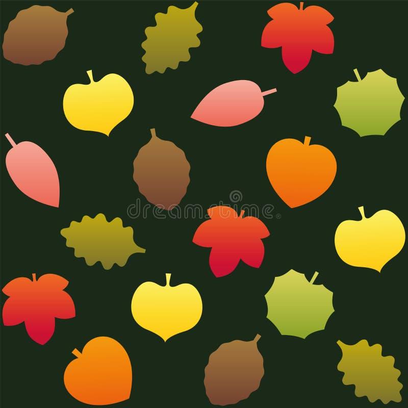 秋天生叶样式背景绿色 向量例证