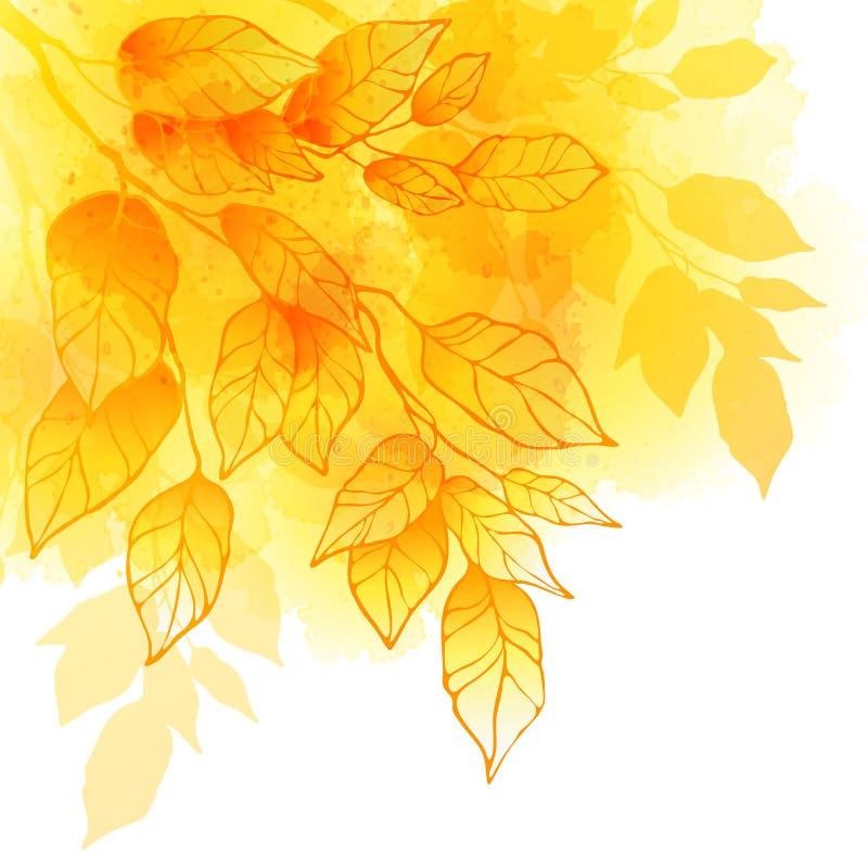 秋天生叶水彩传染媒介背景 库存例证