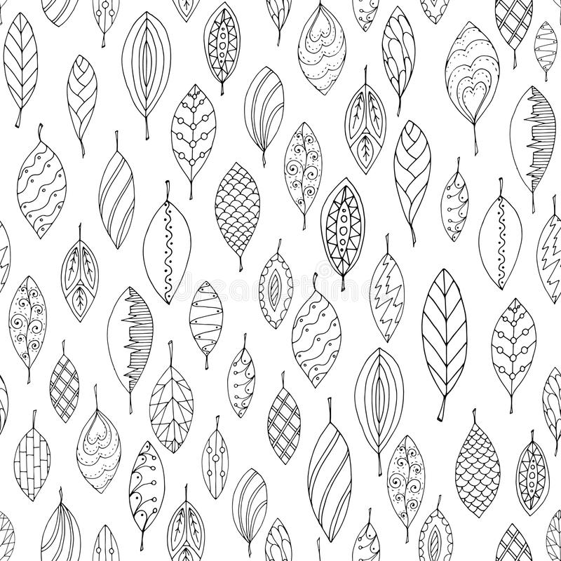 秋天白色和黑无缝的风格化叶子 向量例证