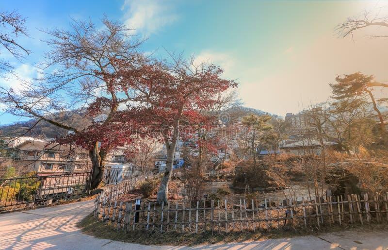 秋天的伊香保Onsen是位于复活节的一个温泉镇 图库摄影